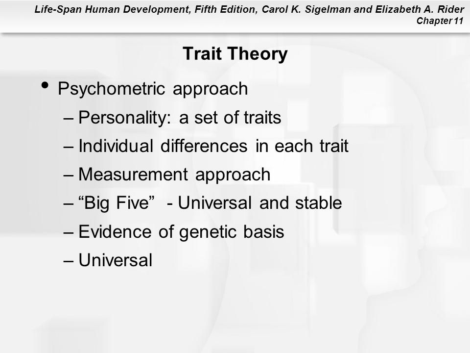 Trait Theory Psychometric approach. Personality: a set of traits. Individual differences in each trait.