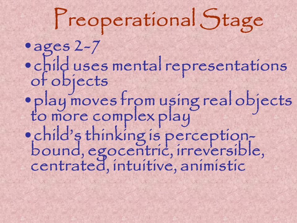 Preoperational Stage ages 2-7