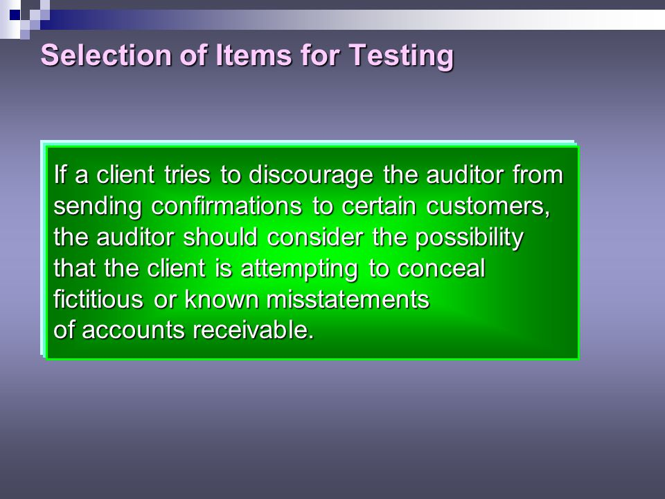 Selection of Items for Testing