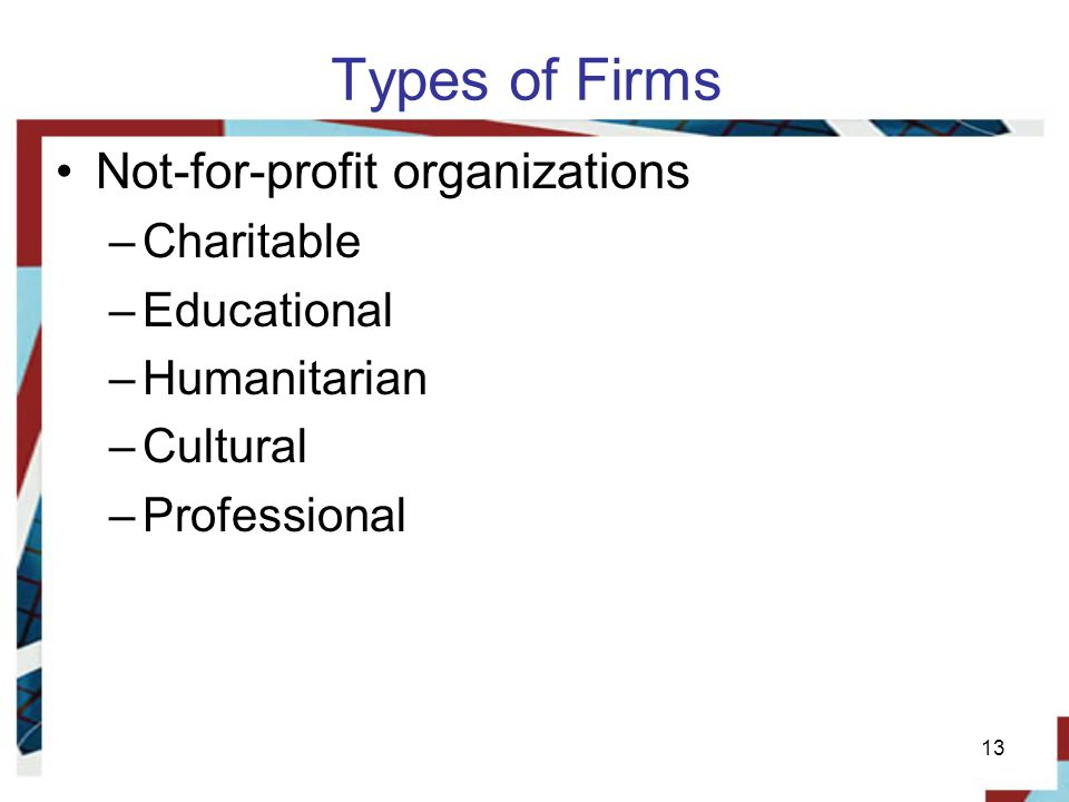 Types of Firms Not-for-profit organizations Charitable Educational