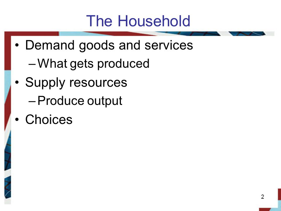 The Household Demand goods and services Supply resources Choices