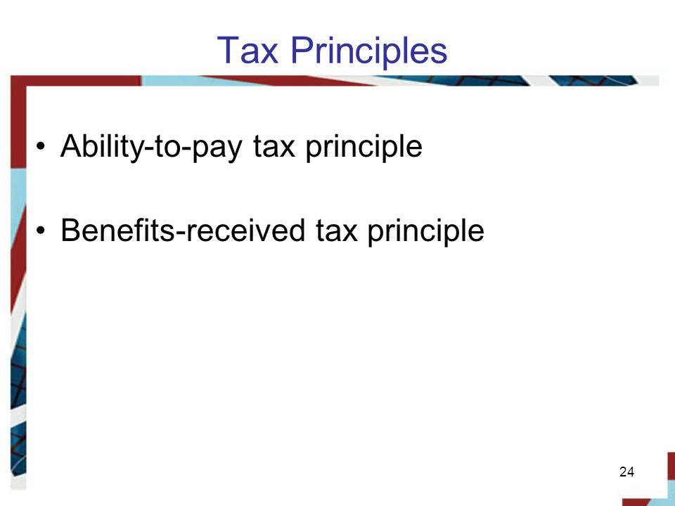 Tax Principles Ability-to-pay tax principle