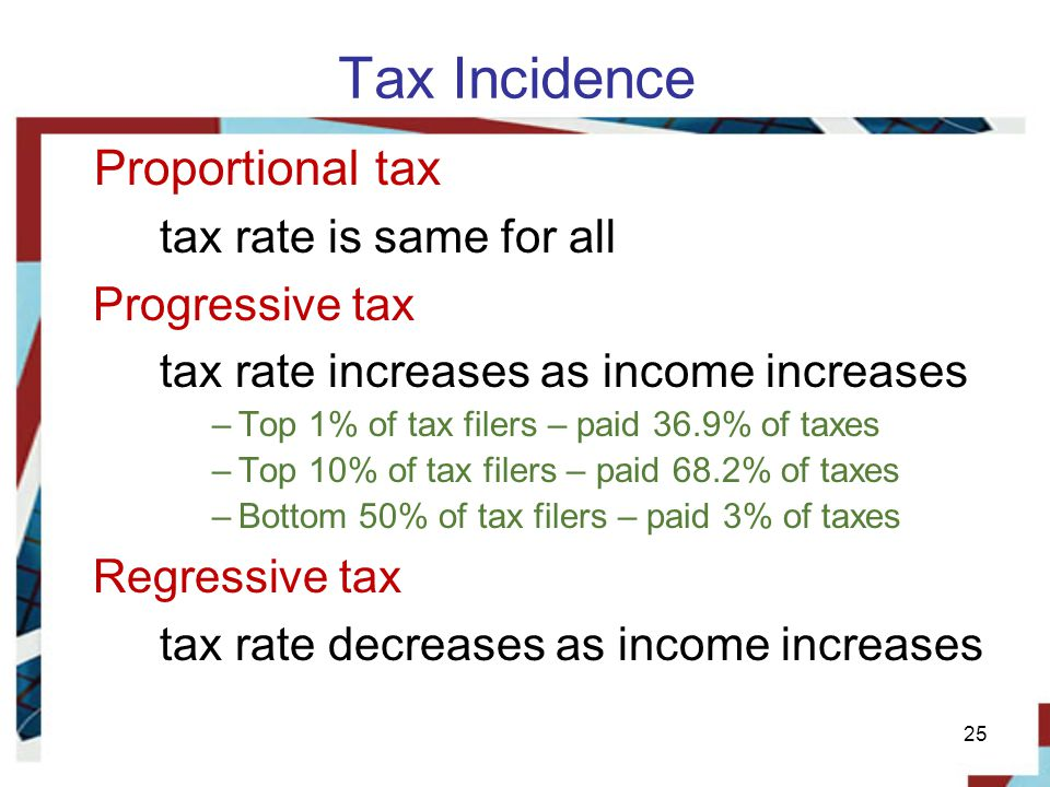 Tax Incidence Proportional tax tax rate is same for all