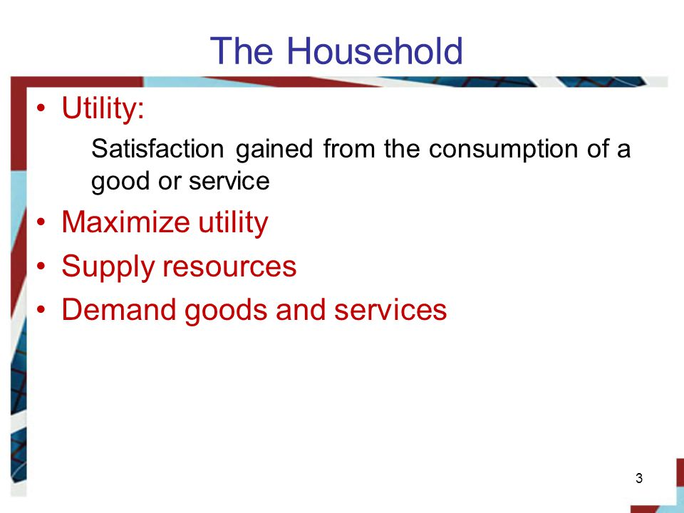 The Household Utility: Maximize utility Supply resources