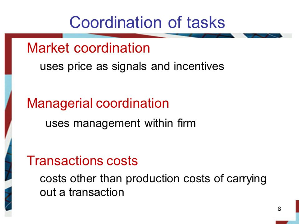Coordination of tasks Market coordination Managerial coordination