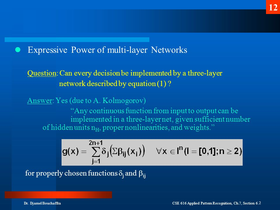 Expressive Power of multi-layer Networks
