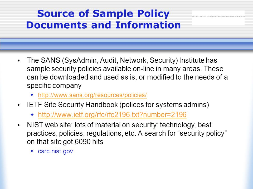 source of sample policy documents and information