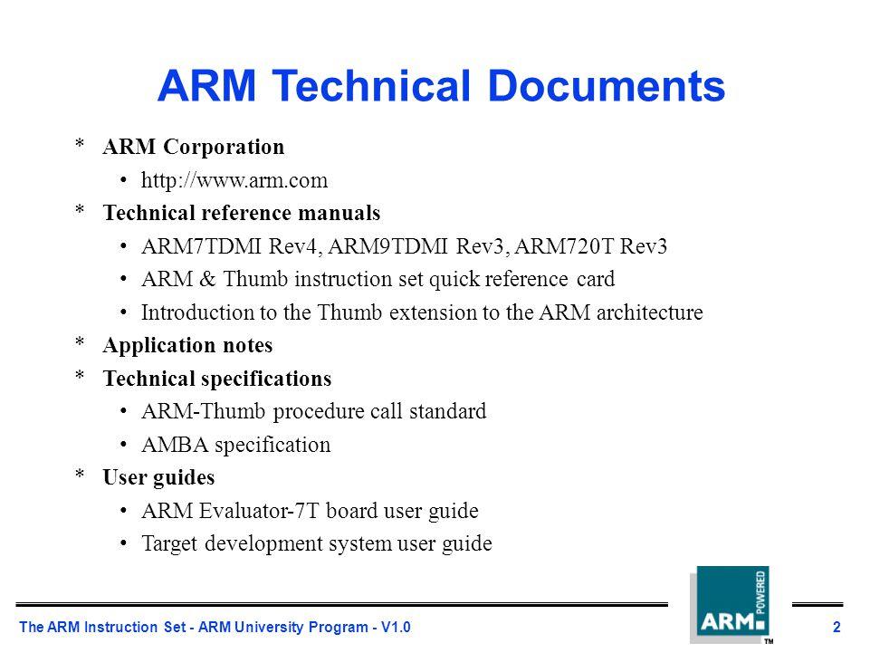 The Arm Instruction Set Ppt Download