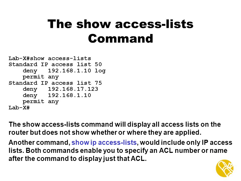 The show access-lists Command