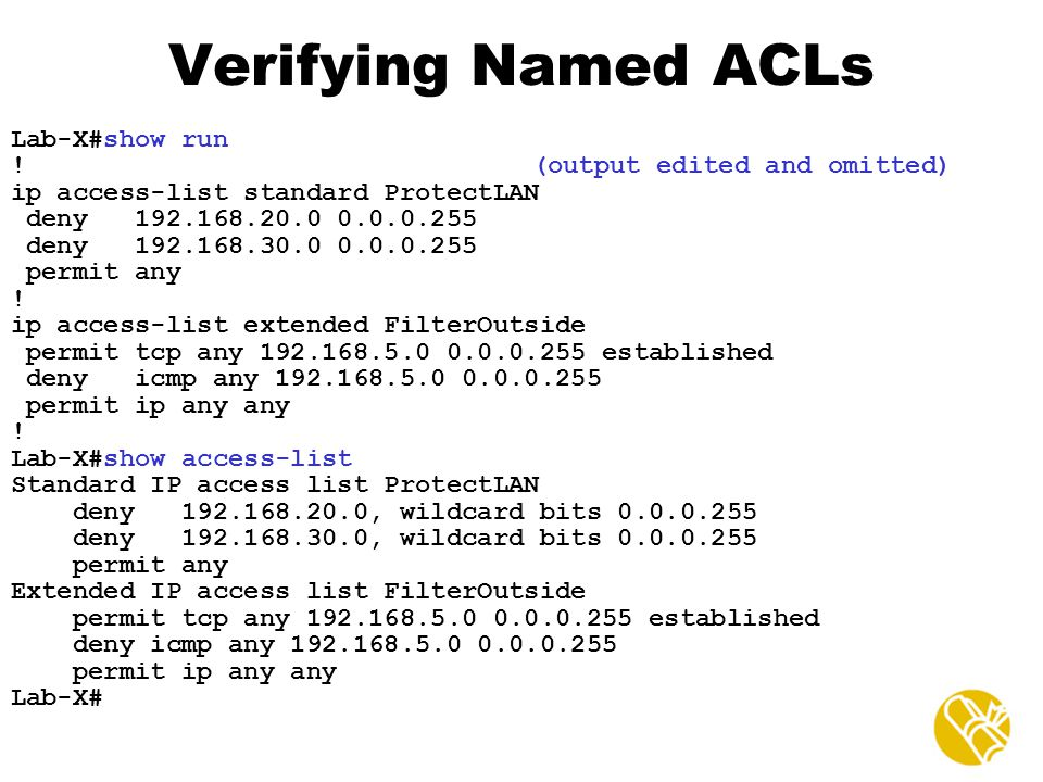 Verifying Named ACLs Lab-X#show run ! (output edited and omitted)
