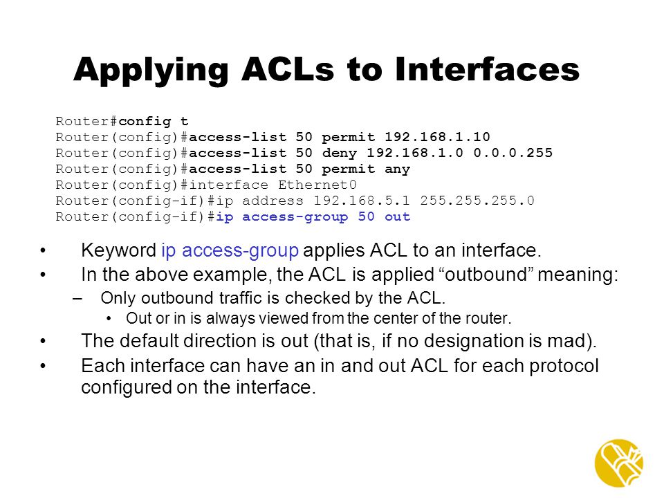 Applying ACLs to Interfaces