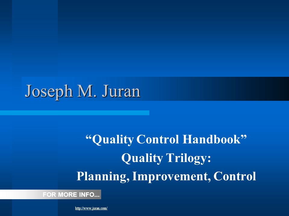 Quality Control Handbook Planning, Improvement, Control