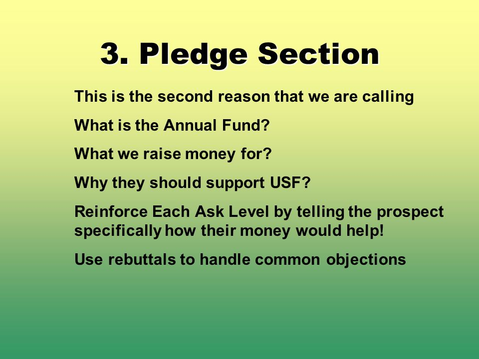 3. Pledge Section This is the second reason that we are calling