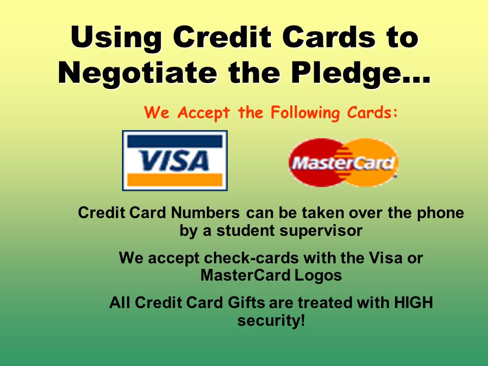 Using Credit Cards to Negotiate the Pledge…