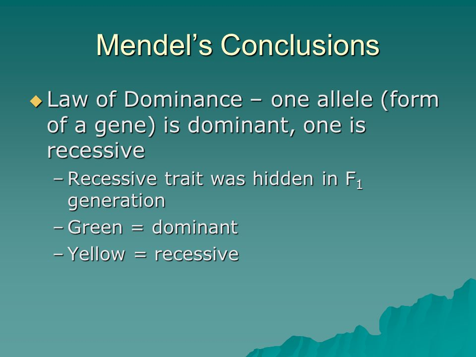 Mendel's Conclusions Law of Dominance – one allele (form of a gene) is dominant, one is recessive. Recessive trait was hidden in F1 generation.
