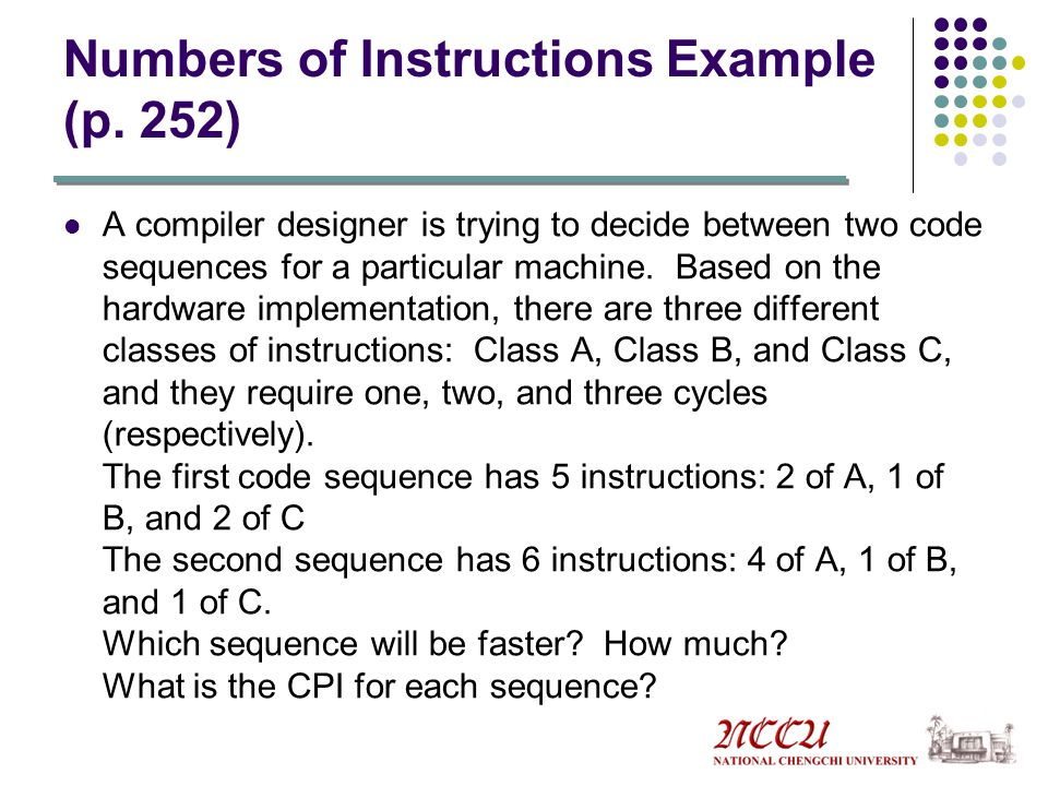 Numbers of Instructions Example (p. 252)