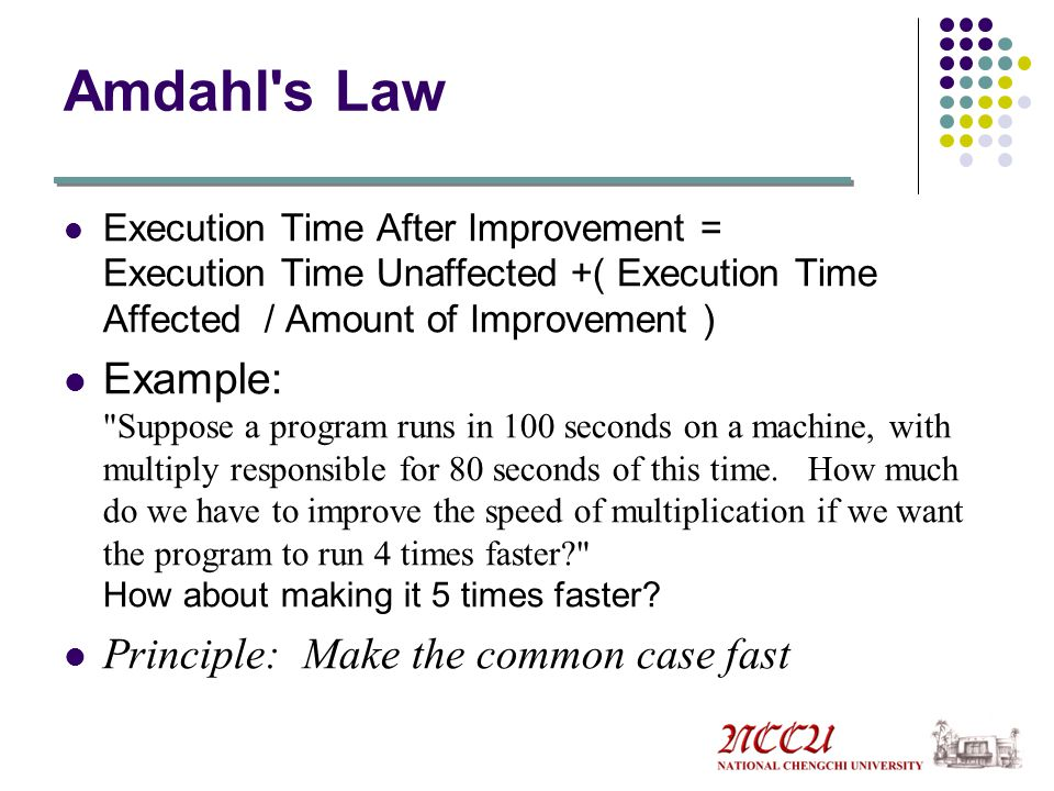 Amdahl s Law Execution Time After Improvement = Execution Time Unaffected +( Execution Time Affected / Amount of Improvement )