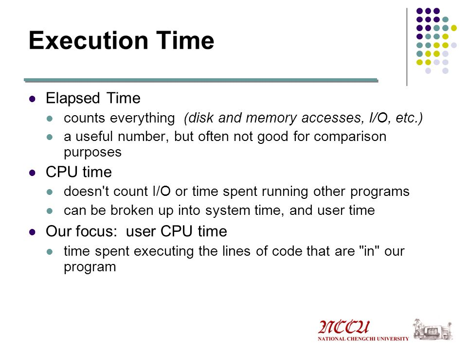 Execution Time Elapsed Time CPU time Our focus: user CPU time