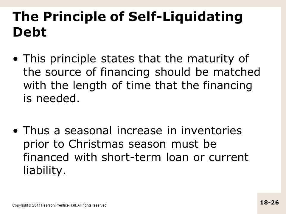Self liquidating trade finance operations