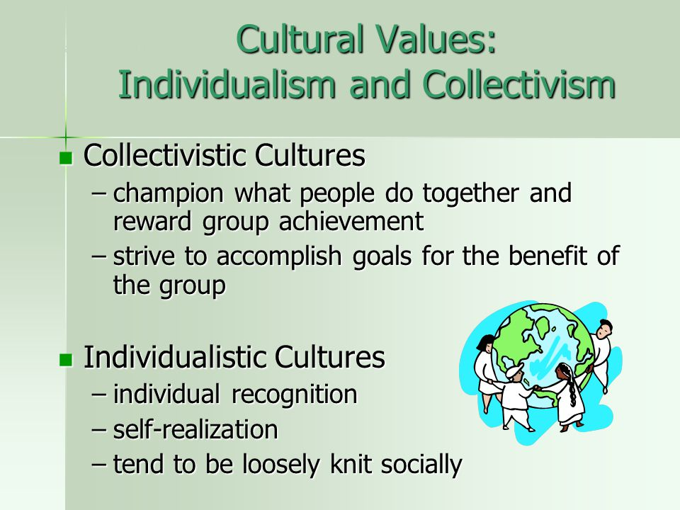 Cultural Values: Individualism and Collectivism