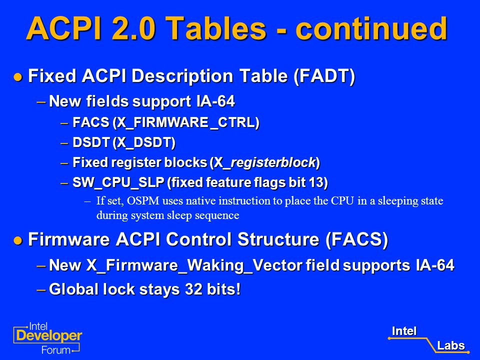 ACPI 2.0 Tables - continued