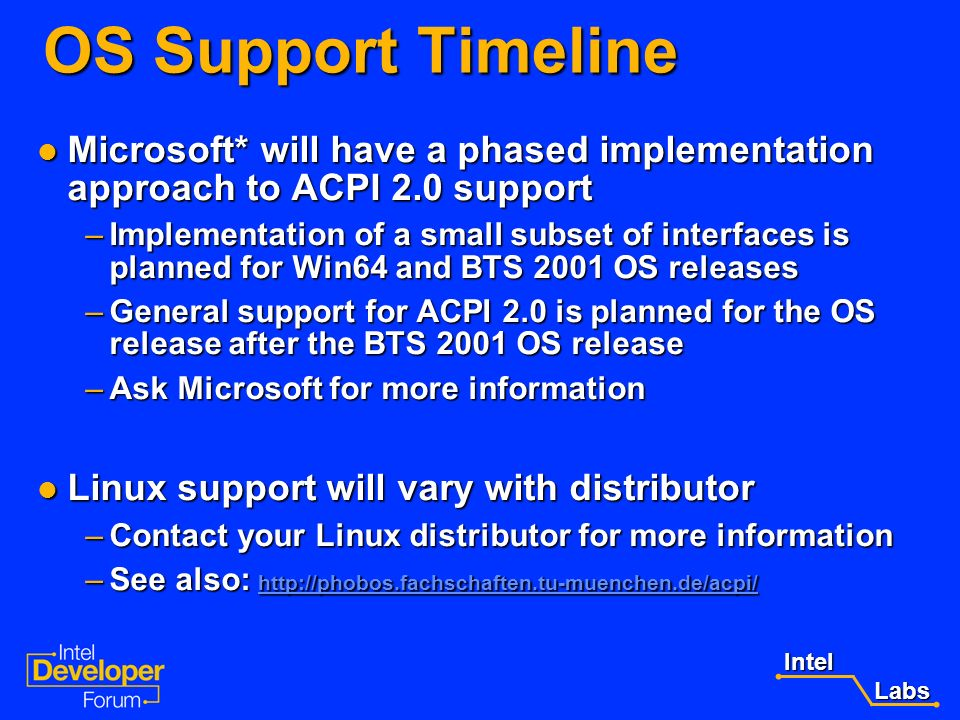 OS Support Timeline Microsoft* will have a phased implementation approach to ACPI 2.0 support.
