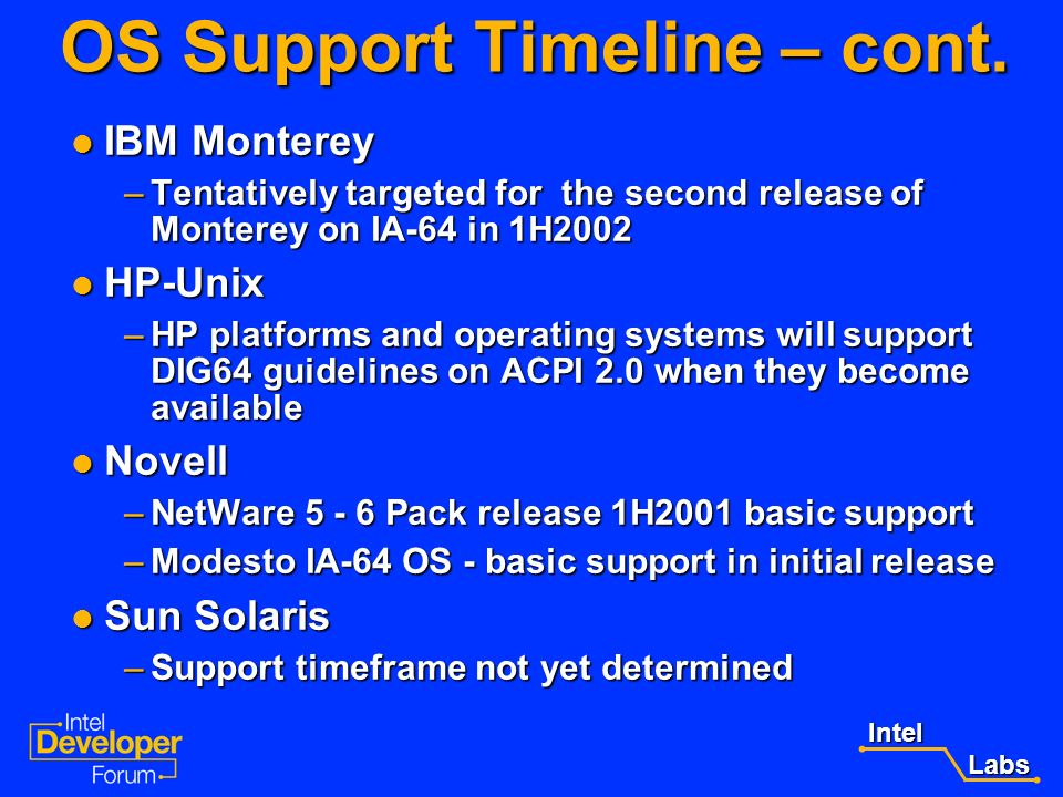 OS Support Timeline – cont.