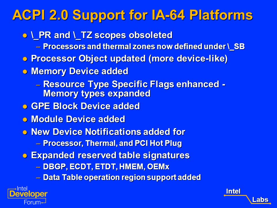ACPI 2.0 Support for IA-64 Platforms