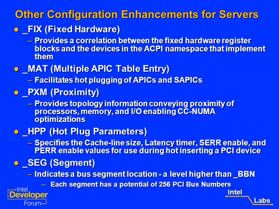 Other Configuration Enhancements for Servers