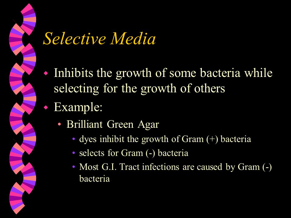 Selective Media Inhibits the growth of some bacteria while selecting for the growth of others. Example: