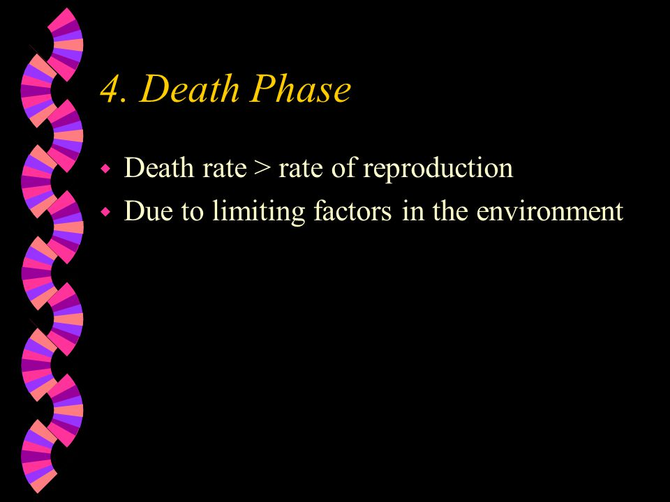 4. Death Phase Death rate > rate of reproduction