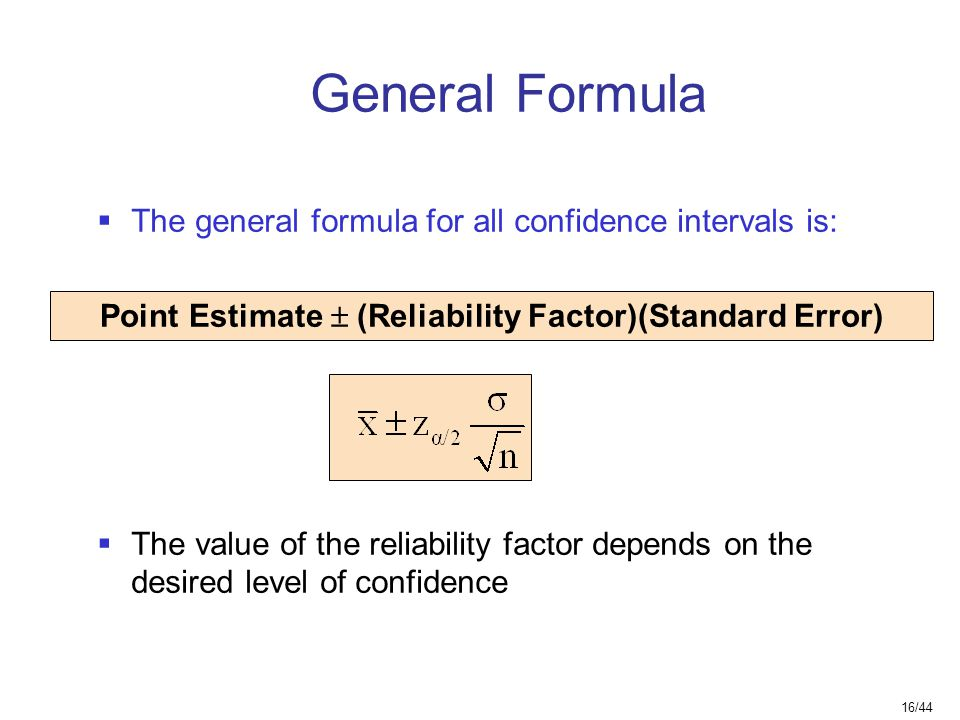 Point Estimate ± (Reliability Factor)(Standard Error)