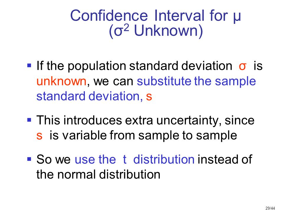 Confidence Interval for μ (σ2 Unknown)