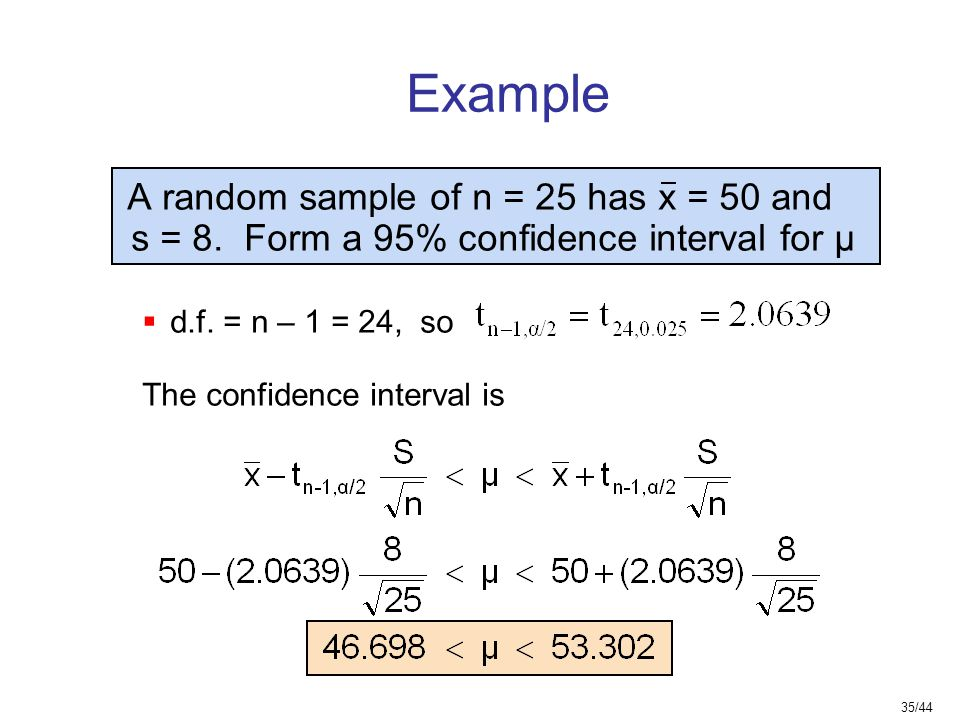 Example s = 8. Form a 95% confidence interval for μ