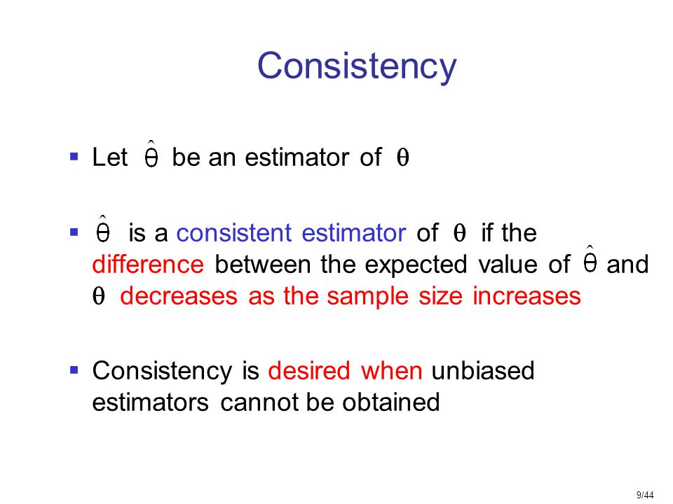 Consistency Let be an estimator of 