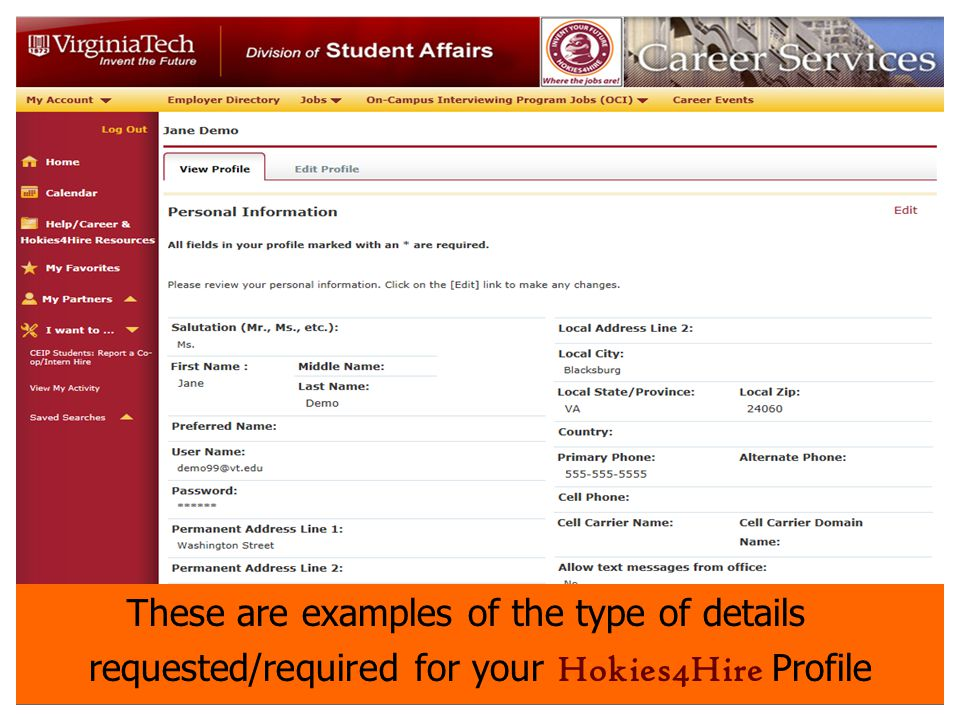 On Campus Interviews Hokies4Hire