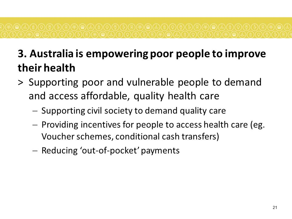 3. Australia is empowering poor people to improve their health
