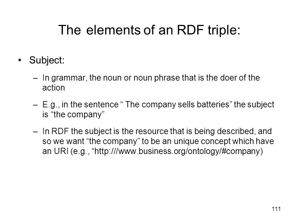The elements of an RDF triple: