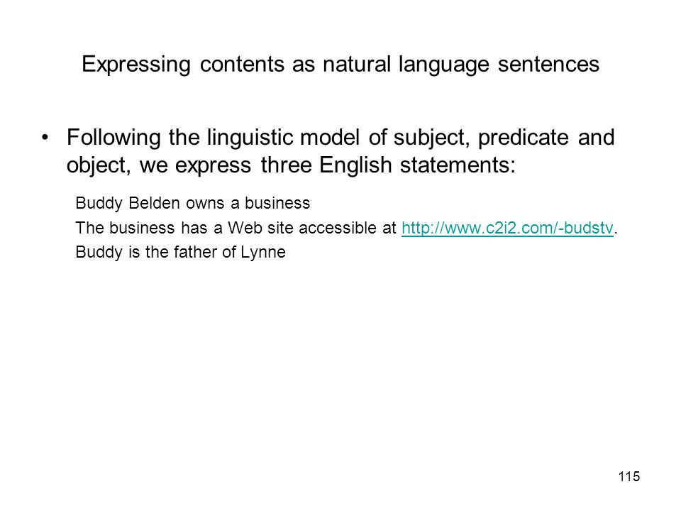 Expressing contents as natural language sentences