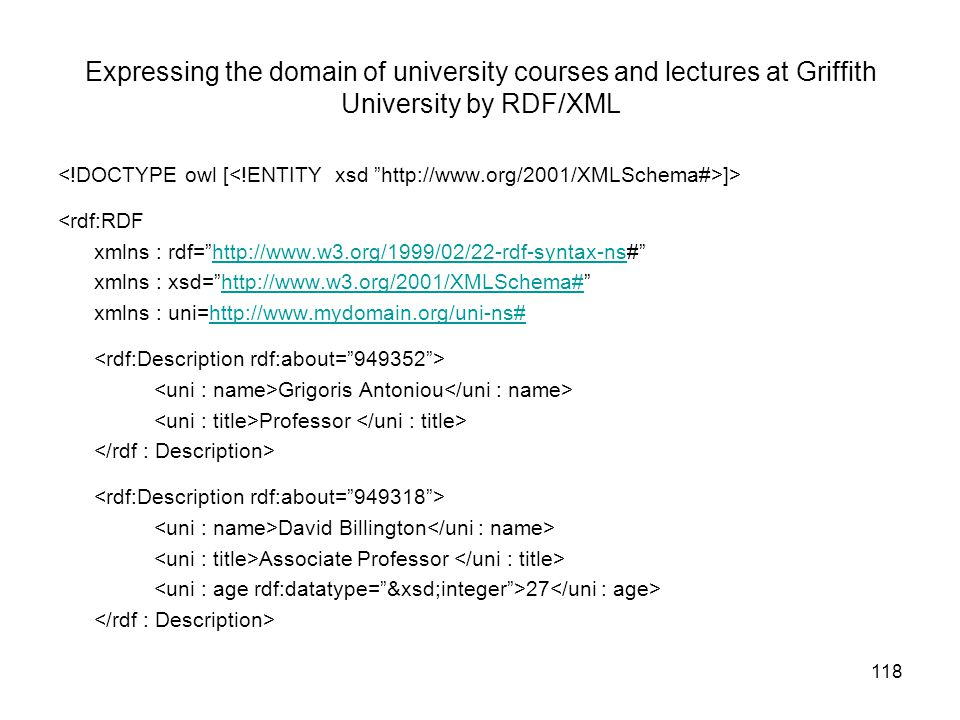 Expressing the domain of university courses and lectures at Griffith University by RDF/XML