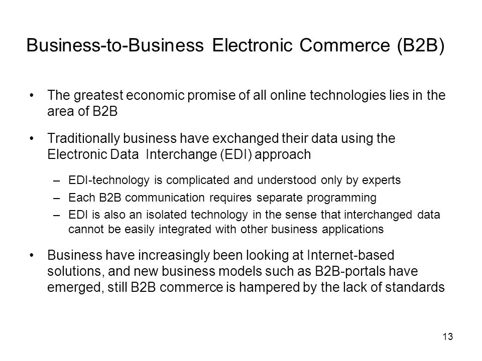 Business-to-Business Electronic Commerce (B2B)