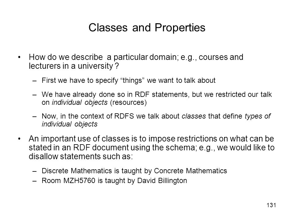 Classes and Properties