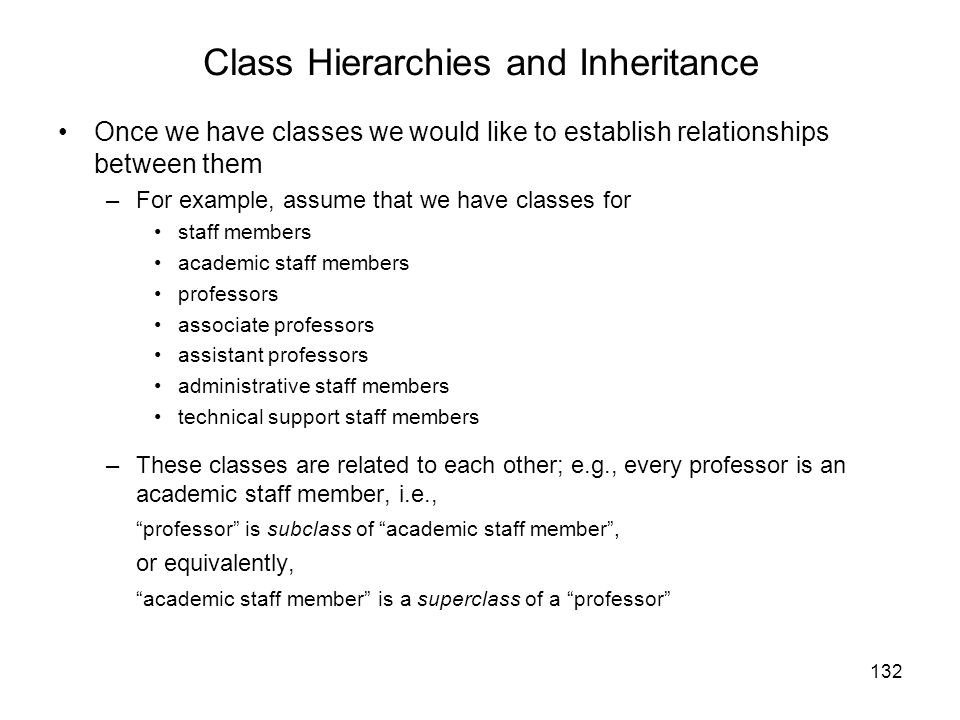 Class Hierarchies and Inheritance