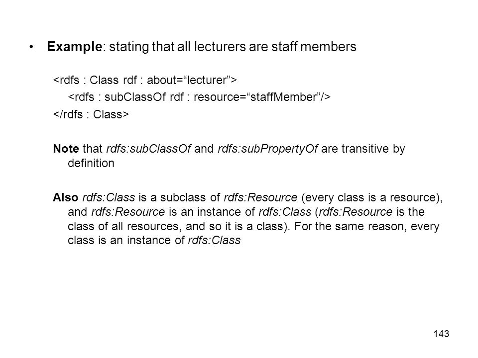 Example: stating that all lecturers are staff members