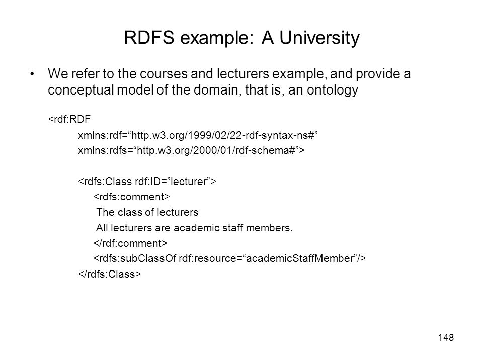 RDFS example: A University