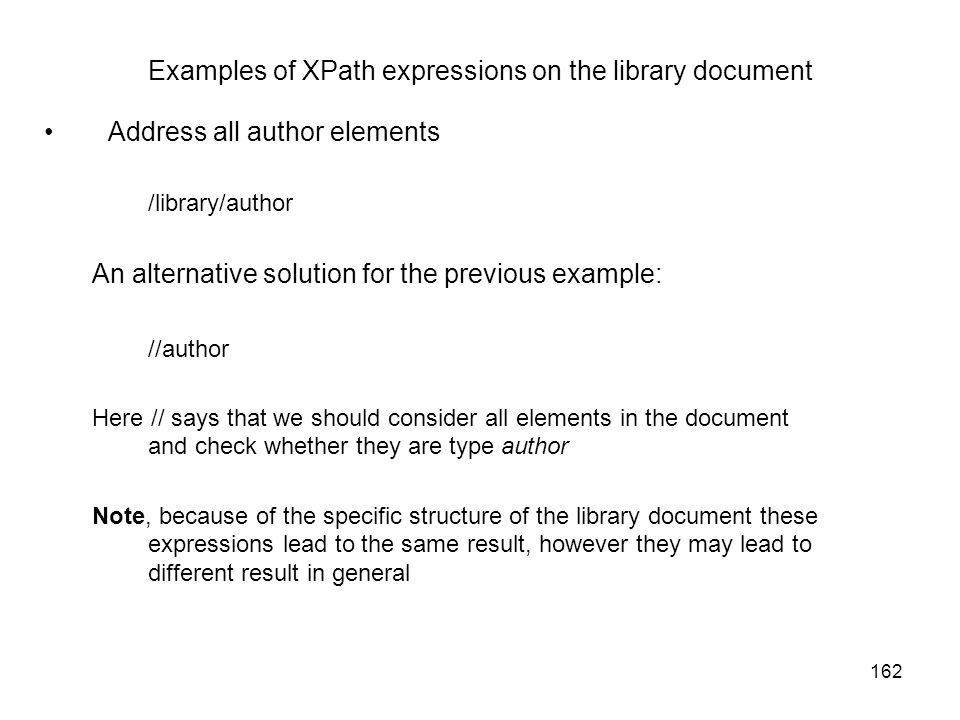 Examples of XPath expressions on the library document