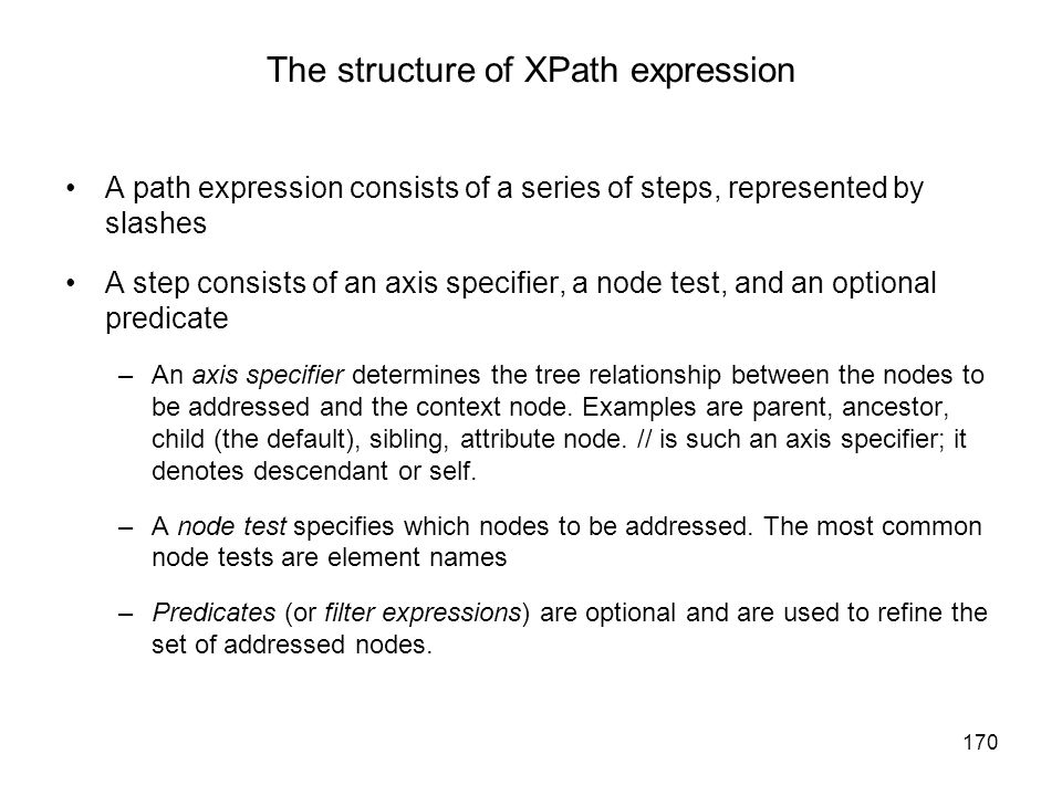 The structure of XPath expression