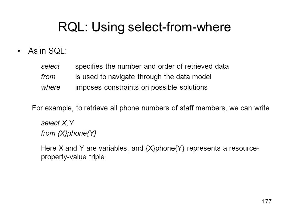 RQL: Using select-from-where