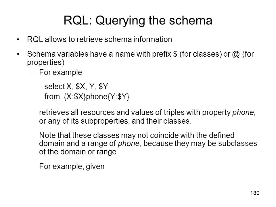 RQL: Querying the schema