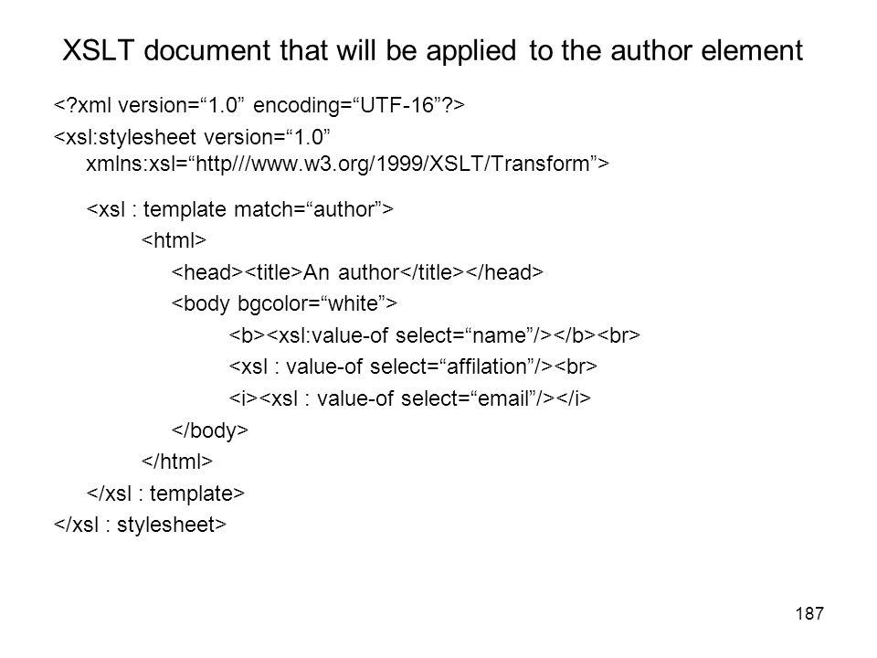 XSLT document that will be applied to the author element